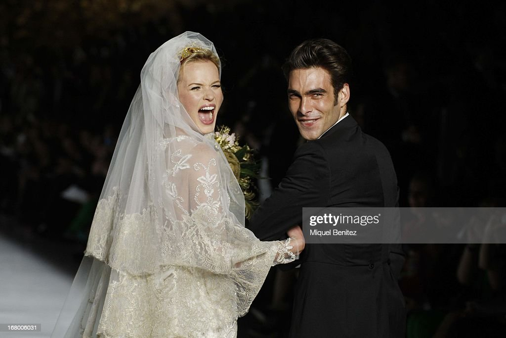 Anne Vyalitsyna and Jon Kortajarena walk the runway for the Pronovias bridal fashion show during Barcelona Bridal Week 2013 on May 3, 2013 in Barcelona, Spain.