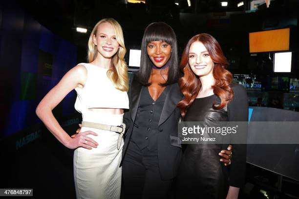 Anne Vyalitsyna Naomi Campbell and Lydia Hearst ring the closing bell at the NASDAQ MarketSite on March 5 2014 in New York City