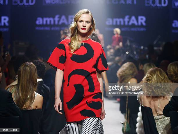 Anne Vyalitsyna walks the runway during amfAR's 21st Cinema Against AIDS Gala Presented By WORLDVIEW, BOLD FILMS, And BVLGARI at Hotel du...