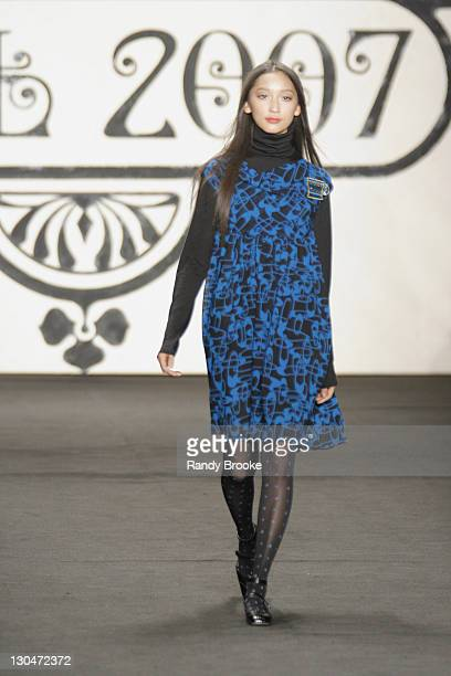 Anne Watanabe wearing Anna Sui Fall 2007 during Mercedes-Benz Fashion Week Fall 2007 - Anna Sui - Runway at The Tent, Bryant Park in New York City,...