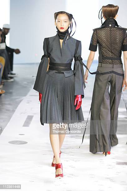 Anne Watanabe wearing Boudicca Spring 2006 during Olympus Fashion Week Spring 2006 - Boudicca - Runway at Bumble & Bumble in New York City, New York,...
