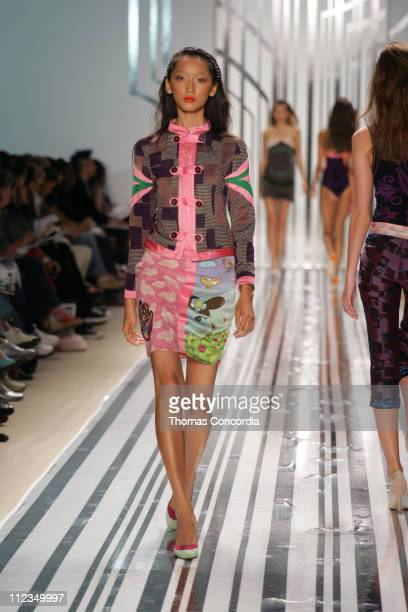 Anne Watanabe wearing Custo Barcelona Spring 2006 during Olympus Fashion Week Spring 2006 - Custo Barcelona - Runway at Bryant Park in New York City,...