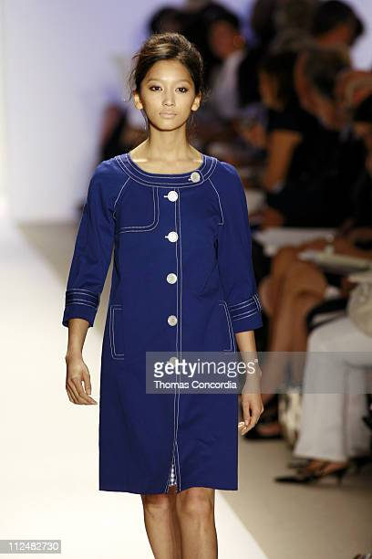 Anne Watanabe wearing Cynthia Steffe Spring 2007 during Olympus Fashion Week Spring 2007 - Cynthia Steffe - Runway at The Promenade, Bryant Park in...