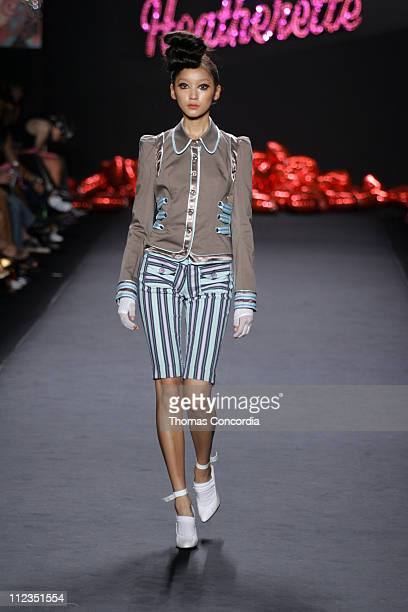 Anne Watanabe wearing Heatherette Spring 2006 during Olympus Fashion Week Spring 2006 - Heatherette - Runway at Bryant Park in New York City, New...