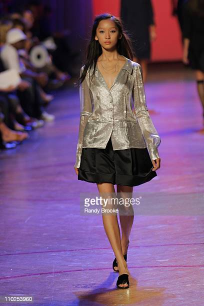 Anne Watanabe wearing Marc Jacobs Spring 2006 during Olympus Fashion Week Spring 2006 - Marc Jacobs - Runway at N.Y. State Armory in New York City,...