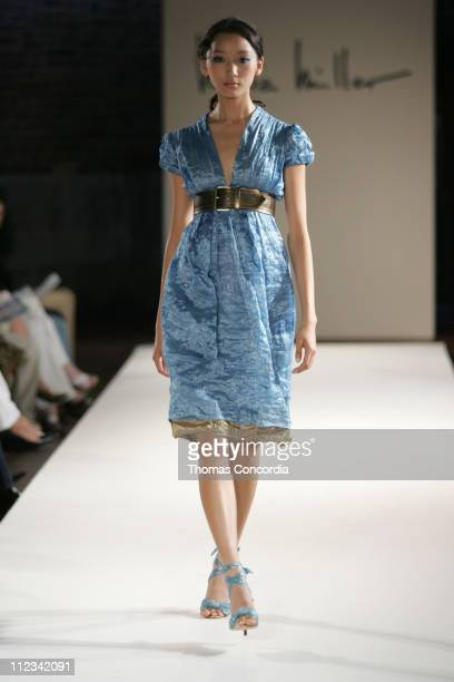 Anne Watanabe wearing Nicole Miller Spring 2006 during Olympus Fashion Week Spring 2006 - Nicole Miller - Runway at Cafe St. Barts in New York City,...