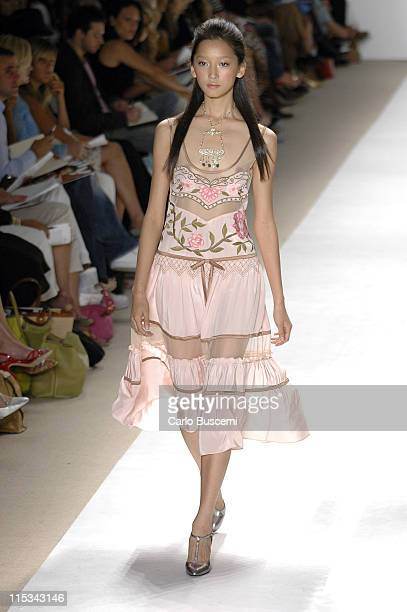 Anne Watanabe wearing Tracy Reese Spring 2006 during Olympus Fashion Week Spring 2006 - Tracy Reese - Runway at Bryant Park in New York City, New...