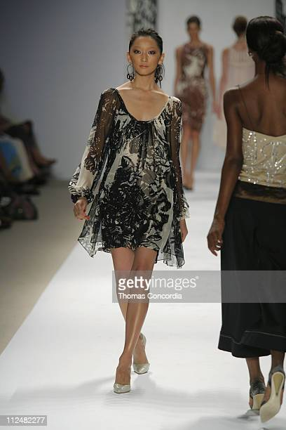Anne Watanabe wearing Tracy Reese Spring 2007 during Olympus Fashion Week Spring 2007 - Tracy Reese - Runway at The Promenade, Bryant Park in New...
