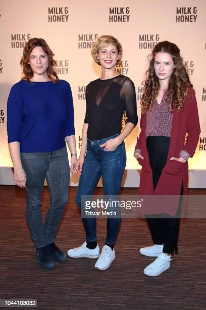 Anne Weinknecht Katharina Schlothauer and Marlene Tanczik during the photo call for the television series 'Milk Honey' on October 1 2018 in Hamburg...