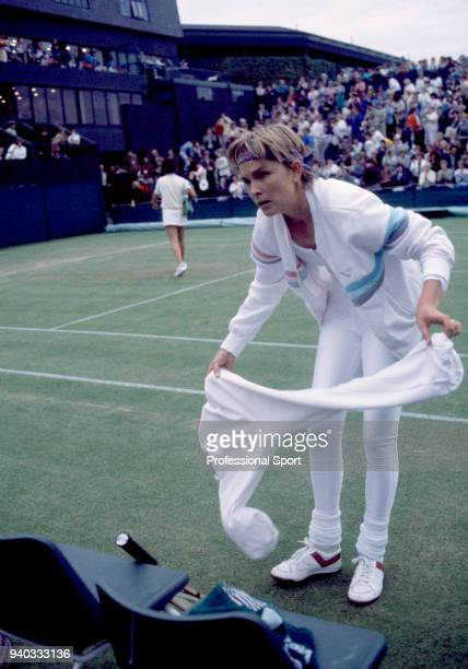 Anne White of the USA during the Wimbledon Lawn Tennis Championships at the All England Lawn Tennis and Croquet Club circa June 1985 in London England