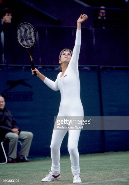 Anne White of the USA in action during the Wimbledon Lawn Tennis Championships at the All England Lawn Tennis and Croquet Club circa June 1985 in...