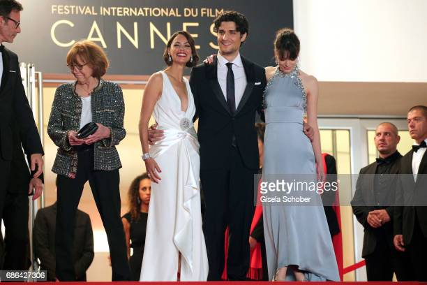 Anne Wiazemsky actors Berenice Bejo Louis Garrel and Stacy Martin attend the 'Redoubtable ' screening during the 70th annual Cannes Film Festival at...