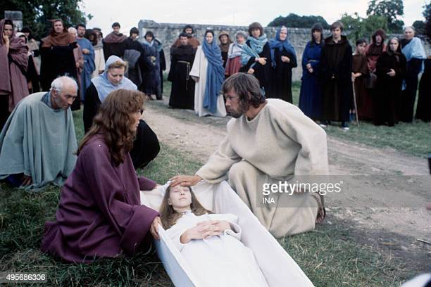 Anne Wiazemsky Valerie Dreville and Alain Claessens in a scene of the television film 'The great inquisitor' adapted of the novel of Dostoïevski by...