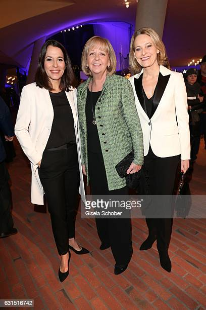 Anne Will and her wife Miriam Meckel and Hannelore Kraft State Governor NordrheinWestfalen during the opening concert of the Elbphilharmonie concert...