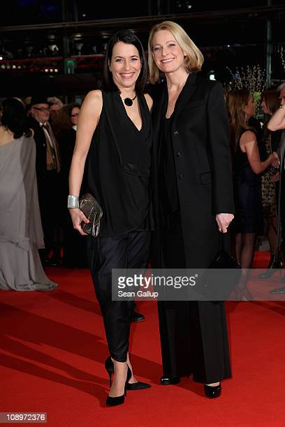 Anne Will and partner Miriam Meckel attend the 'True Grit' Premiere during the opening day of the 61st Berlin International Film Festival at...