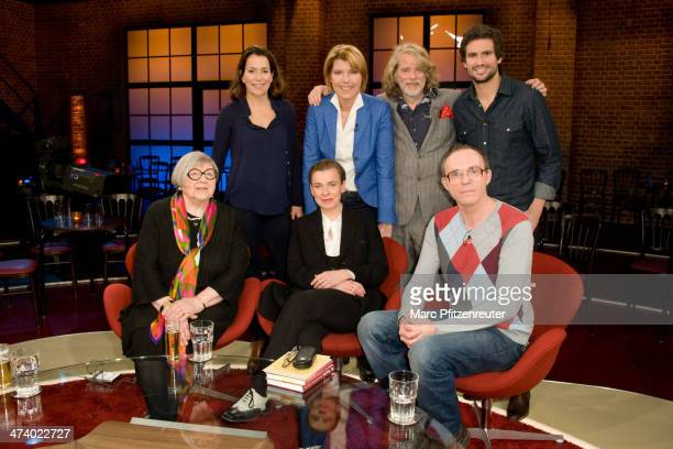 Anne Will Bettina Boettinger Helge Schneider Tom Beck Sybil Graefin Schoenfeldt Tina Teubner and Dirk Martens attend the Koelner Treff TV Show at the...