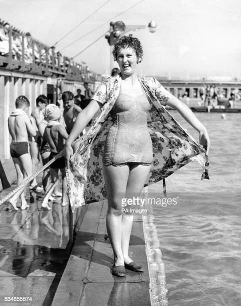 Anne Wilson is pictured at the bathing pool at Great Yarmouth after testing the new bouyant swimsuit The swimsuit is the invention of Mark Shaw it...