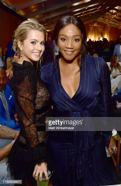 Anne Winters and Tiffany Haddish attend the 5th Anniversary Los Angeles Dodgers Foundation Blue Diamond Gala at Dodger Stadium on June 12 2019 in Los...