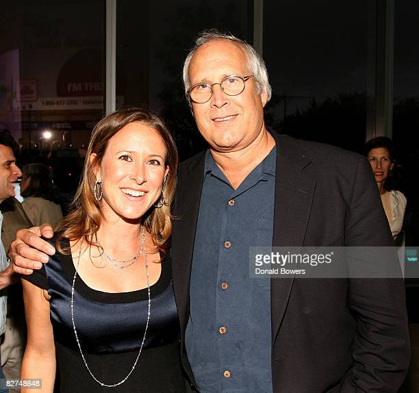 Anne Wojcicki and Chevy Chase attend the 23 and Me Spit party at the IAC Building on September 9 2008 in New York City