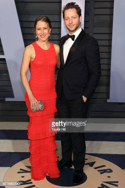 Anne Wojcicki and Derek Blasberg attend the 2018 Vanity Fair Oscar Party hosted by Radhika Jones at the Wallis Annenberg Center for the Performing...