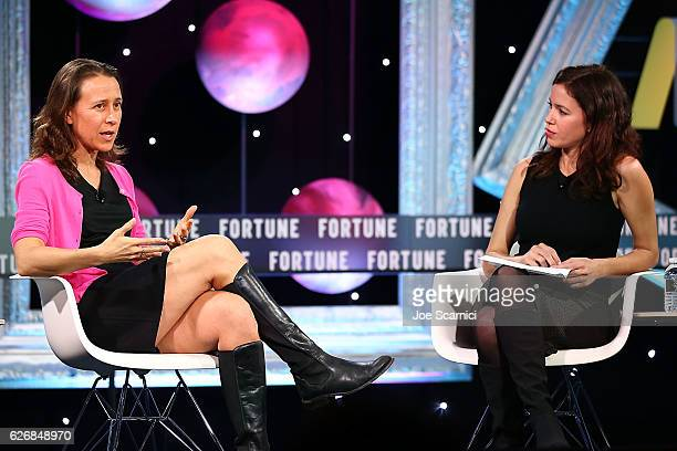 Anne Wojcicki and Michal LevRam speak onstage during the Resilience and Innovation panel at Fortune MPW Next Gen 2016 on November 30 2016 in Dana...