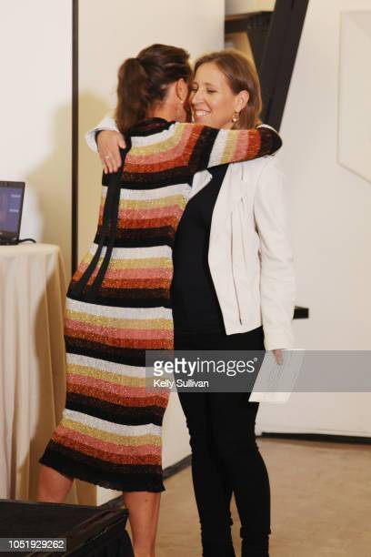 Anne Wojcicki and Susan Wojcicki attends Room To Read 2018 International Day Of The Girl Benefit at One Kearny Club on October 11 2018 in San...