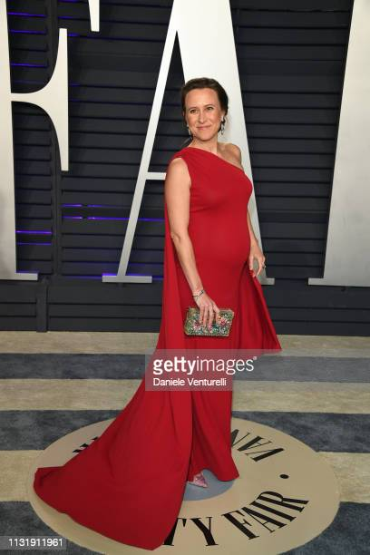 Anne Wojcicki attends 2019 Vanity Fair Oscar Party Hosted By Radhika Jones at Wallis Annenberg Center for the Performing Arts on February 24 2019 in...