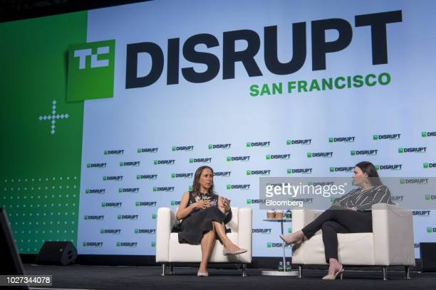 Anne Wojcicki chief executive officer and cofounder of 23andMe Inc left speaks during the TechCrunch Disrupt 2018 summit in San Francisco California...