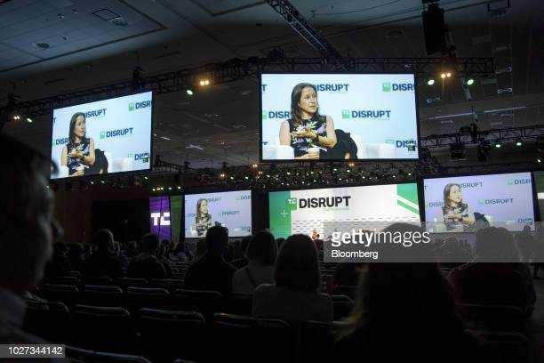 Anne Wojcicki chief executive officer and cofounder of 23andMe Inc speaks during the TechCrunch Disrupt 2018 summit in San Francisco California US on...