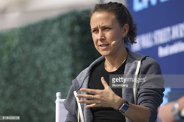 Anne Wojcicki chief executive officer and cofounder of 23andMe Inc speaks during the WSJDLive Global Technology Conference in Laguna Beach California...