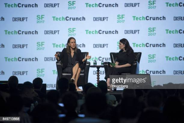 Anne Wojcicki chief executive officer and cofounder of 23andMe Inc left speaks during the TechCrunch Disrupt 2017 in San Francisco California US on...