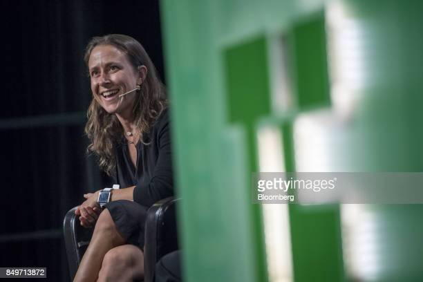Anne Wojcicki chief executive officer and cofounder of 23andMe Inc speaks during the TechCrunch Disrupt 2017 in San Francisco California US on...