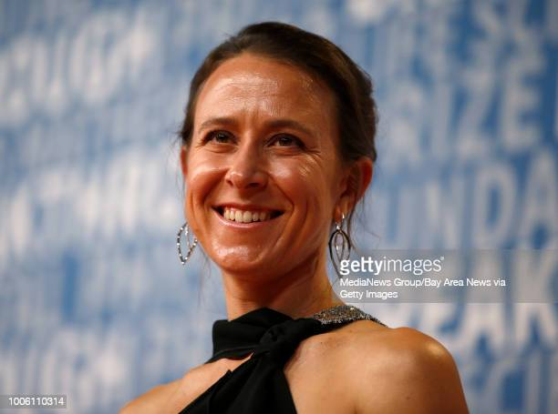 Anne Wojcicki chief executive officer of 23andMe poses for a picture on the red carpet for the 6th annual 2018 Breakthrough Prizes at Moffett Federal...