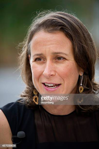 Anne Wojcicki cofounder and chief executive officer of 23andMe Inc speaks during a Bloomberg Television interview in San Francisco California US on...