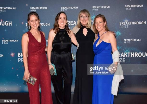 Anne Wojcicki, Janet Wojcicki, Esther Wojcicki and Susan Wojcicki attend the 2020 Breakthrough Prize Red Carpet at NASA Ames Research Center on...