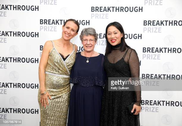 Anne Wojcicki Jocelyn Bell Burnell and Priscilla Chan attend the 2019 Breakthrough Prize at NASA Ames Research Center on November 4 2018 in Mountain...