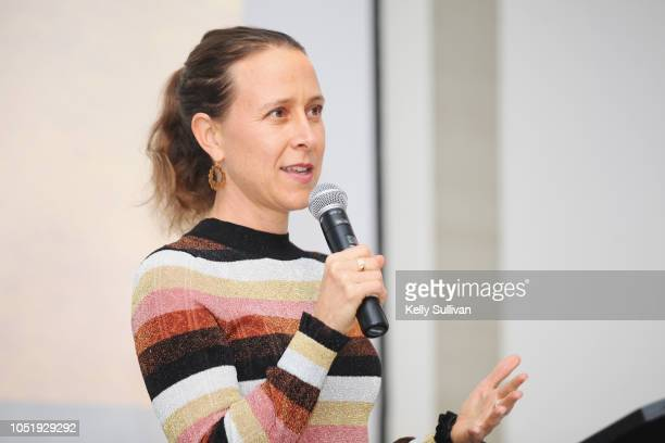Anne Wojcicki speaks at Room To Read 2018 International Day Of The Girl Benefit at One Kearny Club on October 11 2018 in San Francisco California