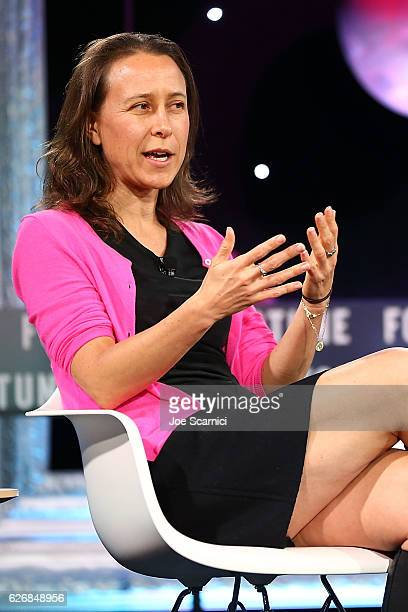 Anne Wojcicki speaks onstage during the Resilience and Innovation panel at Fortune MPW Next Gen 2016 on November 30 2016 in Dana Point California