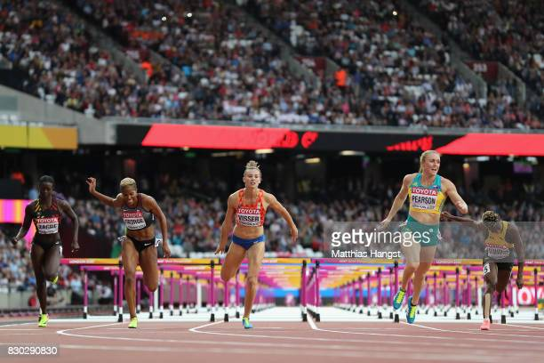 Anne Zagre of Belgium Phylicia George of Canada Nadine Visser of the Netherlands Sally Pearson of Australia and Megan Simmonds of Jamaica compete in...