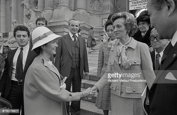 Anne-Aymone Giscard d'Estaing and Bernadette Chirac shake hands at a Japanese art show inaugurated by Anne-Aymone entitled Toshodaiji at the Petit...