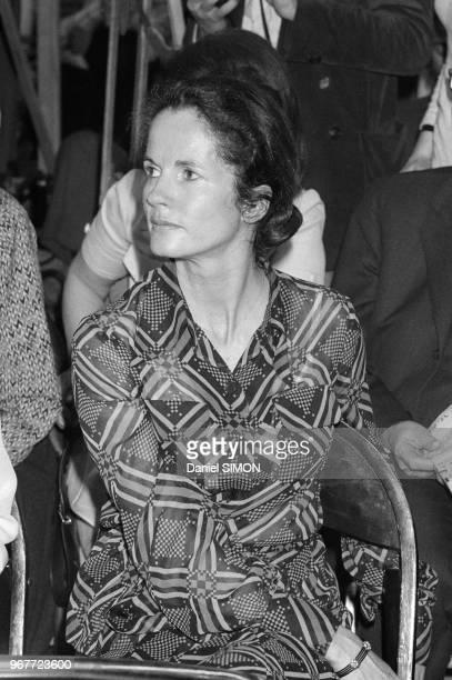 AnneAymone Giscard d'Estaing au dernier meeting de Valéry Giscard d'Estaing lors des élections présidentielles Paris le 17 mai 1974 France