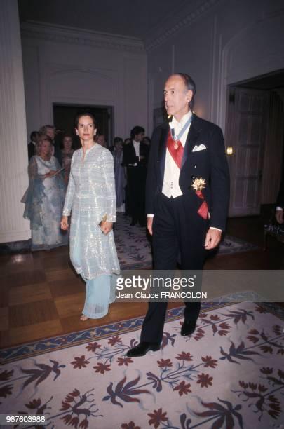 AnneAymone Giscard d'Estaing et Valéry Giscard d'Estaing lors d'une réception à Washington le 17 mai 1976 USA