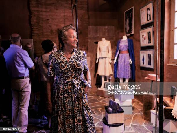 AnneAymone Giscard d'Estaing is photographed for Paris Match in the castle's museum which displays dresses she wore as First Lady in Aveyron France...
