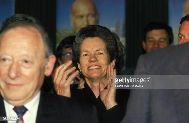 AnneAymone Giscard d'Estaing lors de la celebration de la victoire a l'election legislative au siege de l'UDF le 21 mars 1993 a ClermondFerrand France