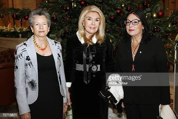 AnneAymone Giscard d'Estaing Marianna V Vardinoyannis and Nana Mouskouri attend the Fondation Pour L'Enfance lunch at the Meurice Hotel before the...