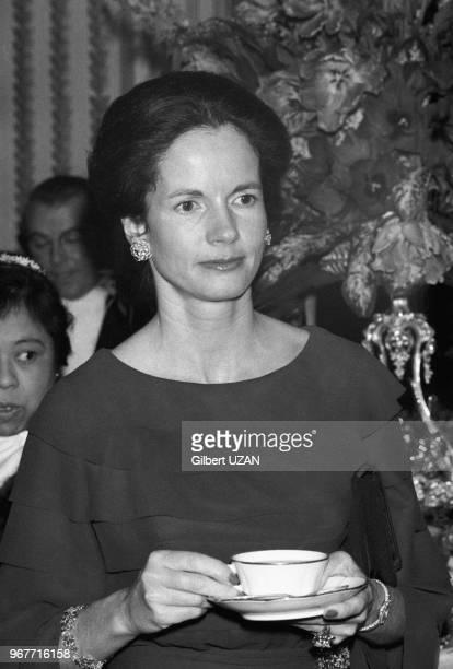 AnneAymone Giscard d'Estaing prend le thé lors d'une réception avec les femmes d'ambassadeurs au Palis de l'Elysée à Paris le 23 janvier 1975 France