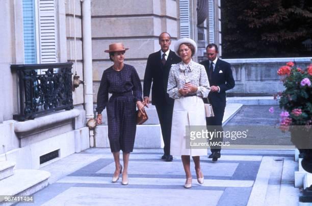 AnneAymone Giscard d'Estaing Valéry Giscard d'Estaing JoséphineCharlotte de Belgique grande duchesse de Luxembourg et le prince Jean à Paris le 19...