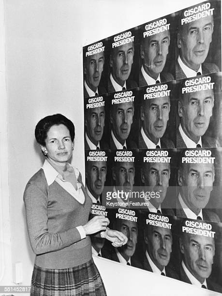AnneAymone Giscard d'Estaing wife of Presidential candidate Valery Giscard d'Estaing standing next her husbands campaign poster during the elections...