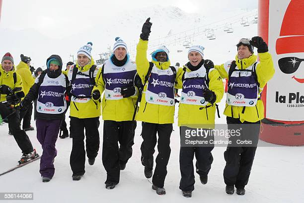 AnneCaroline Chausson jeanPhilippe Gatien Laurent Blanc Olivier Giraiult Alain Boghossian and Guy Forget attend the Etoiles du Sport 2010 in La Plagne