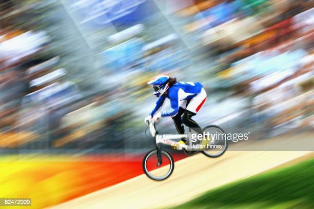 Anne-Caroline Chausson of France competes in the Women's BMX Seeding Phase at the Laoshan Bicycle Moto Cross Venue during Day 12 of the Beijing 2008...